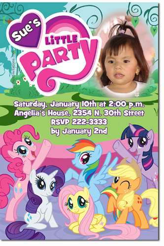 My Little Pony Birthday Invitations Candy Wrappers Thank You Cards
