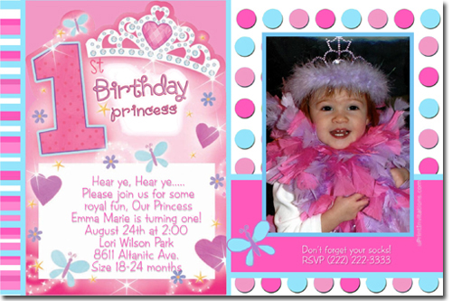 pics photos first birthday princess invitation wording
