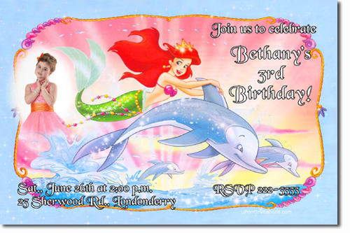 Little Mermaid Birthday Invitations Ariel Birthday Invitations