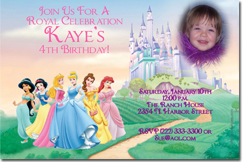 Princess birthday invitations candy wrappers thank you cards click to create this invitation stopboris Image collections