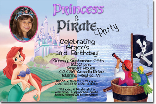 Princess and Pirate birthday party invitations Candy Wrappers – Princess and Pirate Birthday Invitations