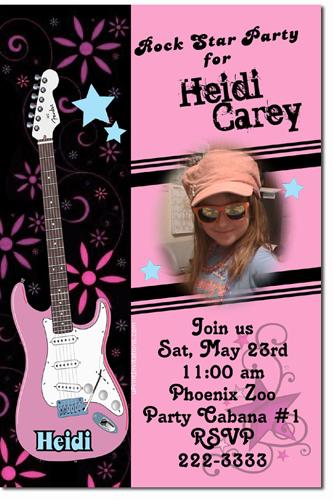 Rock Star Birthday Invitations Guitar Birthday Invitations Candy