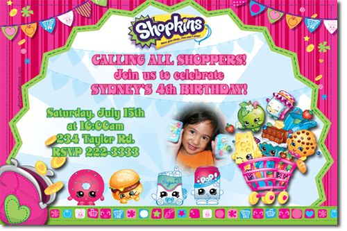 Shopkins Birthday Invitations Candy Wrappers Thank You Cards