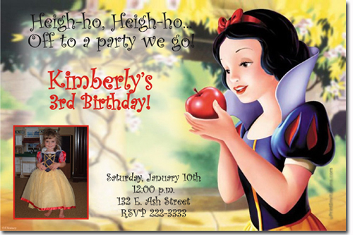 snow white birthday invitations, evil queen birthday invitations, Birthday invitations