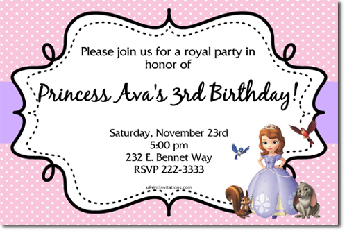 Sofia The First Birthday Invitations Candy Wrappers Thank You