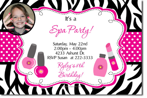 Spa birthday invitations candy wrappers thank you cards candy bag click to create this invitation filmwisefo