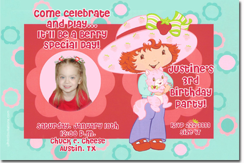 Strawberry shortcake birthday invitations candy wrappers thank you click to create this invitation filmwisefo Gallery