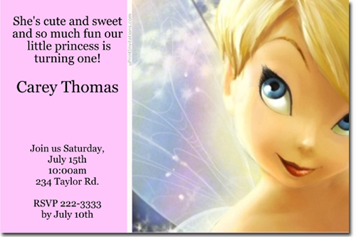 tinkerbell birthday invitations, candy wrappers, thank you cards,