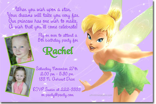 Tinkerbell Birthday Invitations Candy Wrappers Thank You