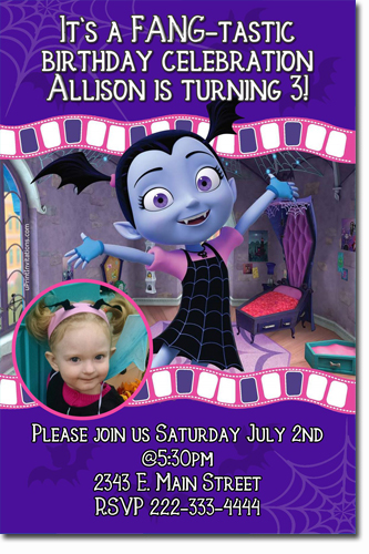 Vampirina Birthday Invitations Candy Wrappers Thank You Cards