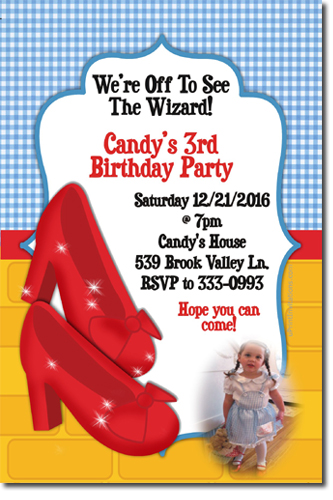 Wizard of oz birthday invitations candy wrappers thank you cards click to create this invitation bookmarktalkfo Image collections