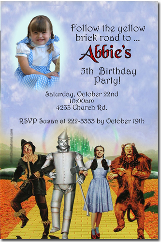 wizard of oz birthday invitations, candy wrappers, thank you cards, Birthday invitations