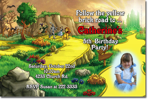 wizard of oz birthday invitations, candy wrappers, thank you cards, Birthday card