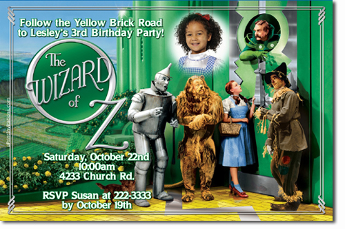 wizard of oz birthday invitations  candy wrappers  thank