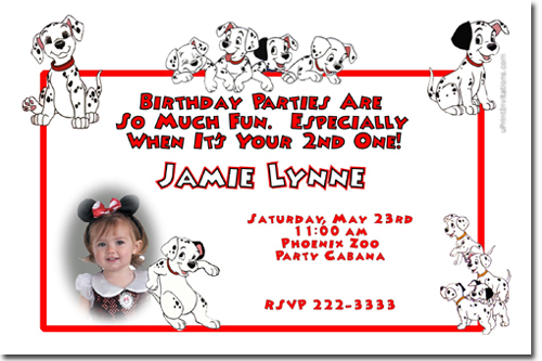101 Dalmations Birthday Invitations Candy Wrappers Thank You Cards
