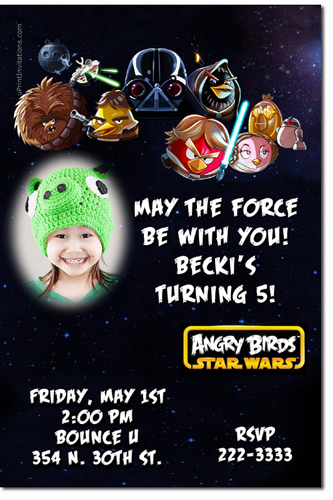 Angry Birds Star Wars Birthday Invitations