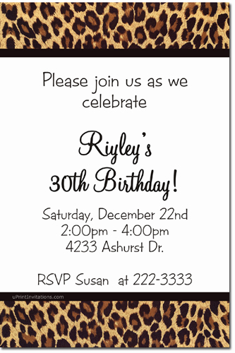 Animal Print Birthday Invitations Zebra