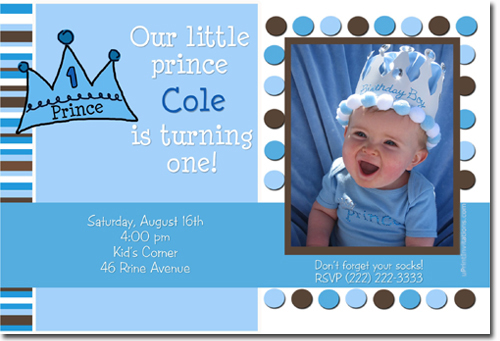Lil prince crown birthday invitations candy wrappers thank you click to create this invitation filmwisefo