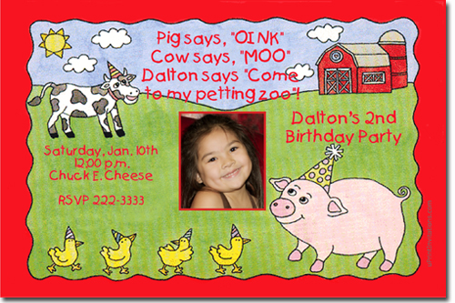 Barnyard Petting Zoo Birthday Party Invitations Candy Wrappers – Barnyard Birthday Invitations