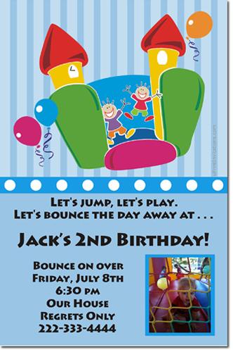 bounce house birthday invitations  moon walk birthday