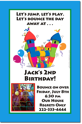bounce house birthday invitations  moon walk birthday