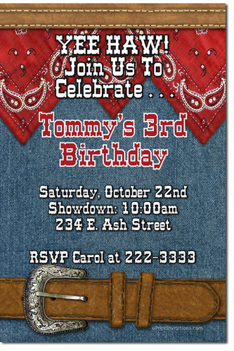 Cowboy and western birthday invitations candy wrappers thank you click to create this invitation solutioingenieria Choice Image