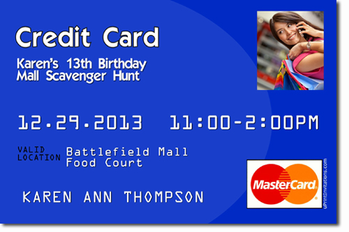 Credit Card Mall Scavenger Hunt Birthday Invitations, Candy Wrappers ...