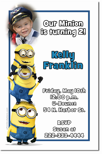 despicable me birthday invitations, candy wrappers, thank you, Birthday invitations