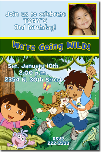 Dora and go diego go birthday invitations candy wrappers thank you click to create this invitation filmwisefo Choice Image