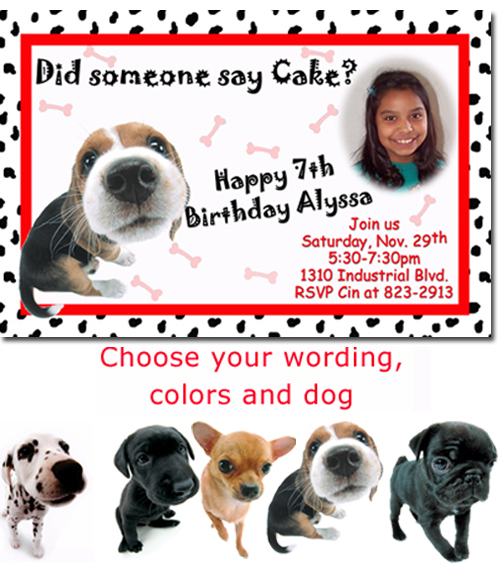 Dog kitty cat kitten puppy birthday invitations candy wrappers click to create this invitation filmwisefo