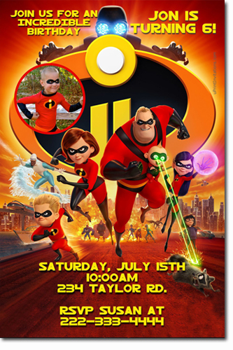 Incredibles Birthday Invitations Candy Wrappers Thank
