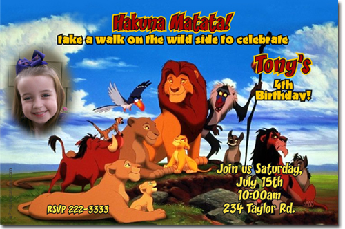 Lion king birthday invitations candy wrappers thank you cards click to create this invitation bookmarktalkfo Images