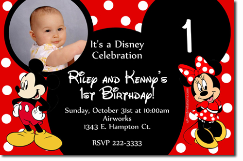 Mickey Mouse Birthday Invitations Candy Wrappers Thank You Cards - Mickey mouse 1st birthday invitations template