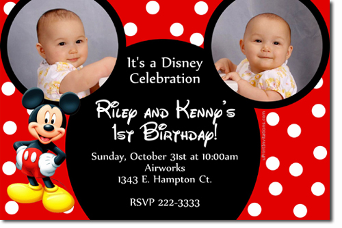 Mickey Mouse Birthday Invitations, Candy Wrappers, Thank You Cards