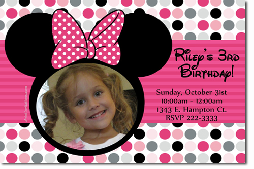 Minnie Mouse Birthday invitations Candy Wrappers Thank You Cards – Minnie Mouse Birthday Invitation