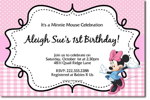 invitation minnie baby baptism birthday