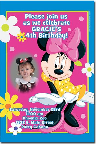 Minnie mouse birthday invitations candy wrappers thank you cards click to create this invitation stopboris Choice Image