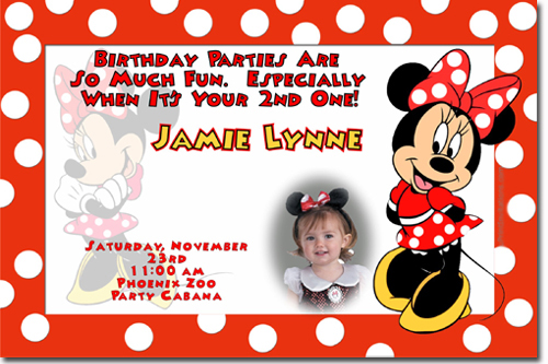 Minnie Mouse Birthday Invitations Candy Wrappers Thank You Cards - Minnie mouse birthday invitation images