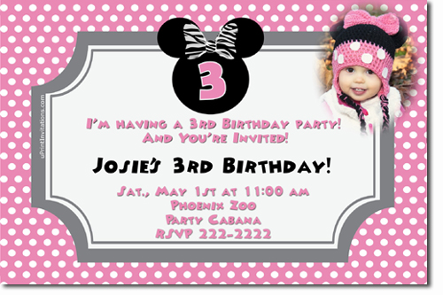 Minnie Mouse Birthday invitations, Candy Wrappers, Thank You Cards ...