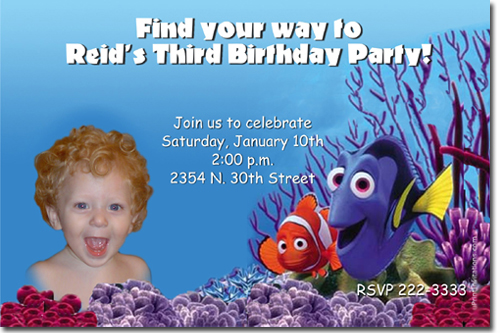 finding nemo birthday invitations, candy wrappers, thank you cards, Birthday invitations