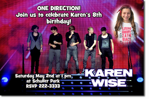 One Direction Birthday Invitations Candy Wrappers Thank You Cards