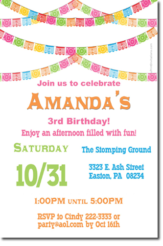 Papel Picado Birthday Invitations Candy Wrappers Thank You Cards