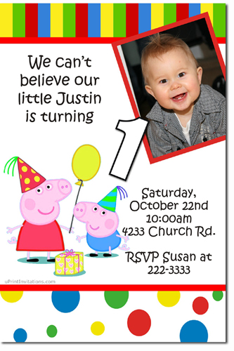 Peppa Pig Birthday Invitations Candy Wrappers Thank You Cards