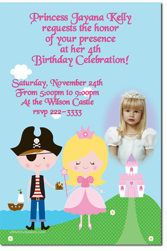 Princess and pirate birthday party invitations candy wrappers click to create this invitation filmwisefo