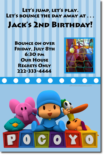 Pocoyo Birthday Invitations Candy Wrappers Thank You Cards