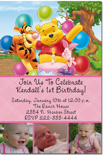 winnie the pooh birthday invitations, candy wrappers, thank you, Birthday invitations