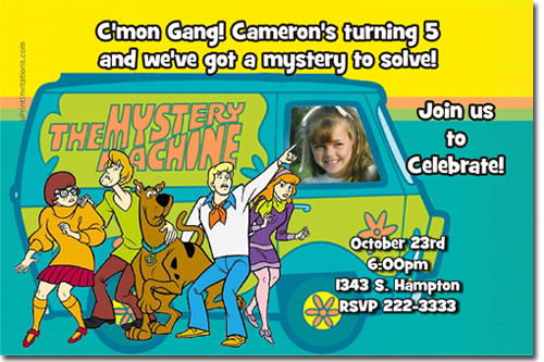 scooby doo birthday invitations, candy wrappers, thank you cards, Birthday invitations