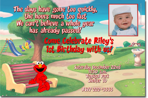 Personalized Elmo Birthday Invitations