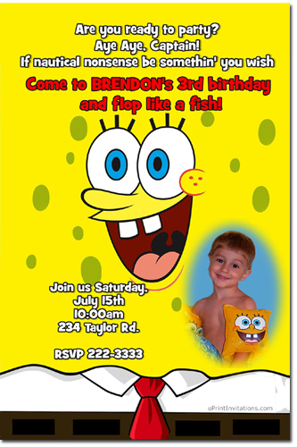 Spongebob Squarepants Pool Party Birthday Invitations