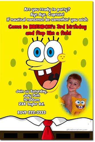 Spongebob Squarepants Pool Party Birthday Invitations Candy